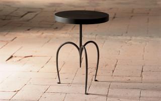 tavolino in ferro rotondo con legno